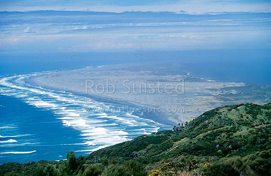 Looking out over Farewell Spit Nature Reserve, Farewell Spit, Golden Bay, Tasman District, Tasman Region, New Zealand (NZ) stock photo.