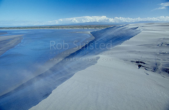 Windswept sand and dune lake, Farewell Spit Nature Reserve, Farewell Spit, Golden Bay, Tasman District, Tasman Region, New Zealand (NZ) stock photo.