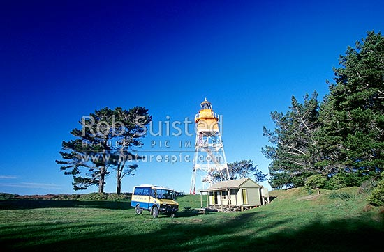 Farewell Spit Lighthouse built in 1897, Farewell Spit, Golden Bay, Tasman District, Tasman Region, New Zealand (NZ) stock photo.