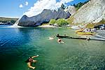 Swimmers in Blue Lake, St Bathans