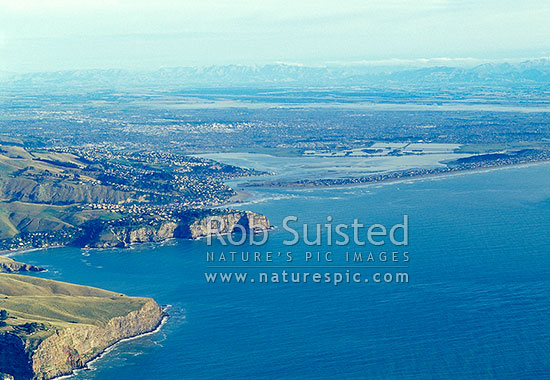 Overlooking Sumner Head and Heathcote/Avon Estuary to Christchurch City and beyond to the Southern Alps. Pre earthquakes, Christchurch, Christchurch City District, Canterbury Region, New Zealand (NZ) stock photo.