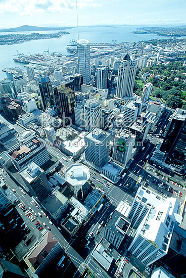 Looking NE from Sky Tower. Rangitoto Island, Waitemata Harbour entrance and Port, Auckland, Auckland City District, Auckland Region, New Zealand (NZ) stock photo.