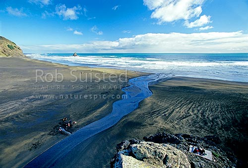 Karekare Stream at Karekare Beach. Panatahi Island centre. Black sand Auckland west coast beach, Karekare Beach, Waitakere City District, Auckland Region, New Zealand (NZ) stock photo.