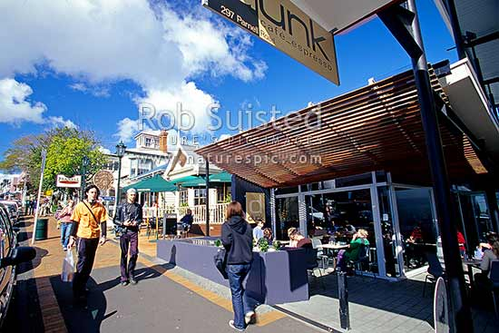 Cafes on Parnell Road; Parnell, Auckland, Auckland City District, Auckland Region, New Zealand (NZ) stock photo.
