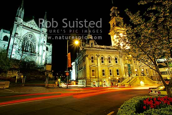 The Dunedin Octagon with Town Hall and Cathedral, at night, Dunedin, Dunedin City District, Otago Region, New Zealand (NZ) stock photo.
