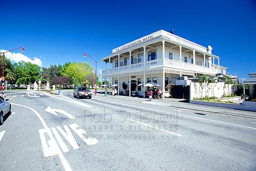 The Martinborough Hotel on Memorial Square, Martinborough, South Wairarapa District, Wellington Region, New Zealand (NZ) stock photo.