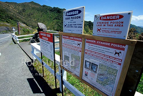 1080 poison and cyanide signs warning the public of possum control operations, Remutaka, New Zealand (NZ) stock photo.