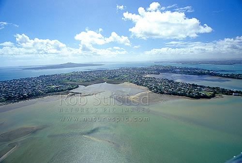 Looking over the Waitemata Harbour and Takapuna to Rangitoto Island, from the air, Auckland, Auckland City District, Auckland Region, New Zealand (NZ) stock photo.