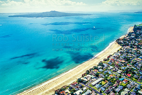 Looking Over Takapuna Beach To Rangitoto Channel And