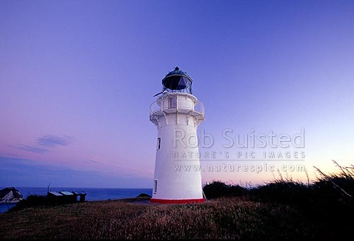 East Cape Lighthouse (141masl), East Cape, Gisborne District, Gisborne Region, New Zealand (NZ) stock photo.
