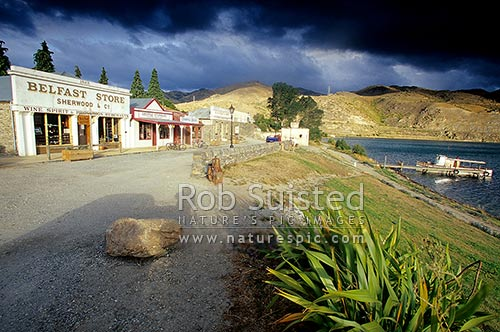 Old Cromwell - Historic district of Cromwell dating around 1880. On shores of Lake Dunstan, Cromwell, Central Otago District, Otago Region, New Zealand (NZ) stock photo.