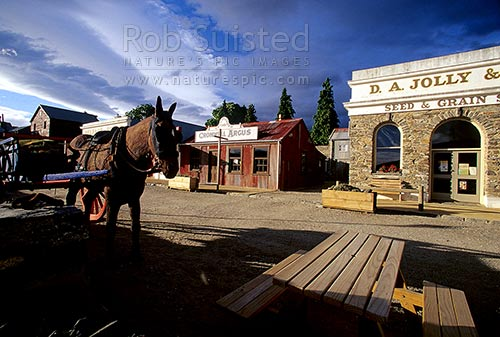 Old Cromwell - Historic district of Cromwell dating around 1880, Cromwell, Central Otago District, Otago Region, New Zealand (NZ) stock photo.