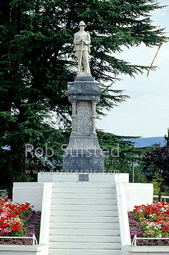 War memorial statue to the Great wars in town centre, Alexandra, Central Otago District, Otago Region, New Zealand (NZ) stock photo.