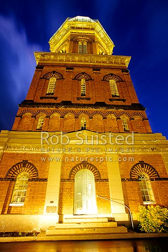 Historic Water Tower at night (AD1889) - 27.43m high - Victorian architecture - historic place, Invercargill, Southland District, Southland Region, New Zealand (NZ) stock photo.