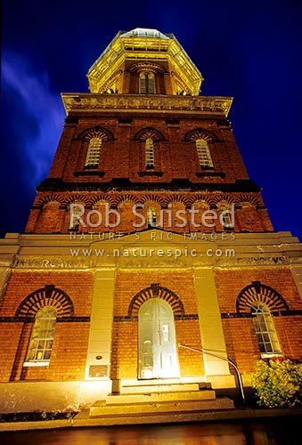 Historic Water Tower at night (AD1889) - 27.43m high - Victorian architecture - historic place, Invercargill, Invercargill District, Southland Region, New Zealand (NZ) stock photo.