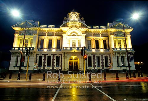 Invercargill's historic Town Hall and Theatre, Invercargill, Invercargill District, Southland Region, New Zealand (NZ) stock photo.
