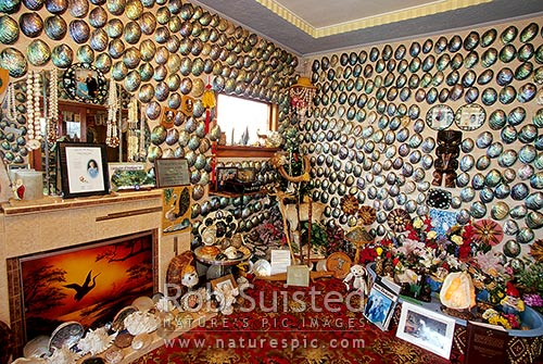 Famous Paua Shell House (Haliotis iris), Bluff, Invercargill District, Southland Region, New Zealand (NZ) stock photo.