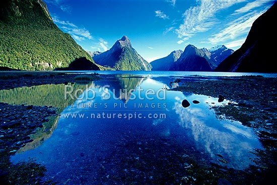Looking up Milford Sound past Mitre Peak (1683m) centre reflected in fiord waters. Mount (Mt) Pembroke (2000m) in snow - right, Fiordland National Park, Southland District, Southland Region, New Zealand (NZ) stock photo.