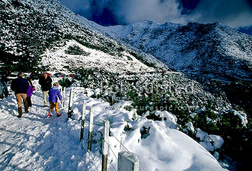 People and families enjoying the winter snow at the summit of the Remutaka (Rimutaka) Hill Road (555masl, State Highway 2), Remutaka, Upper Hutt City District, Wellington Region, New Zealand (NZ) stock photo.