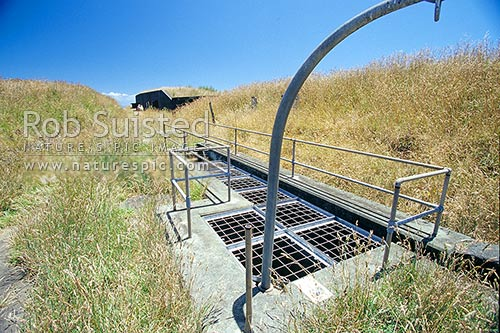 Historic Defensive Gun Emplacements on Motutapu Island. Gun mounting bracket, Motutapu Island, Auckland City District, Auckland Region, New Zealand (NZ) stock photo.