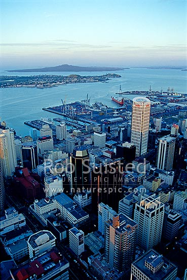 Auckland City, Port, Devonport and Rangitoto Island viewed from the Auckland Sky tower, Auckland, Auckland City District, Auckland Region, New Zealand (NZ) stock photo.