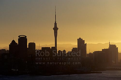 Auckland Skyline and Sky Tower from the sea, silhouetted at dusk, Auckland, Auckland City District, Auckland Region, New Zealand (NZ) stock photo.