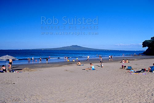 People Swimming And Playing On Takapuna Beach With