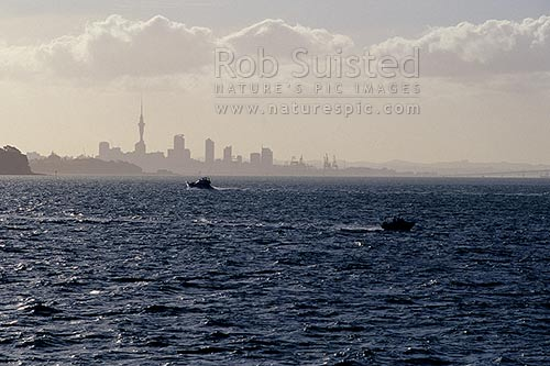 Silhouette of the Auckland Skyline and Browns Island, Auckland, Auckland City District, Auckland Region, New Zealand (NZ) stock photo.