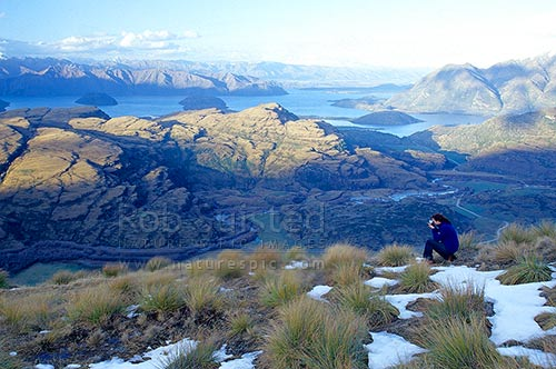 A person looking over Lake Wanaka from the west, in evening. Snow and tussocks, Wanaka, Queenstown Lakes District, Otago Region, New Zealand (NZ) stock photo.