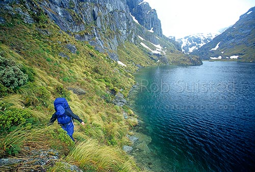 Tramper walking around the edge of Lake Harris, Routeburn Track, Mount Aspiring National Park, Queenstown Lakes District, Otago Region, New Zealand (NZ) stock photo.