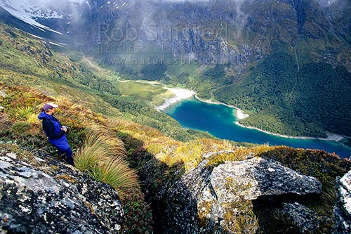 Tramper on the Routeburn Track Great Walk high above Lake MacKenzie, Fiordland National Park, Southland District, Southland Region, New Zealand (NZ) stock photo.