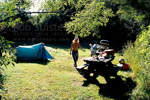 Summer camping at Mount (Mt) Holdsworth campsite from motorcycle, Tararua Forest Park, Masterton District, Wellington Region, New Zealand (NZ).