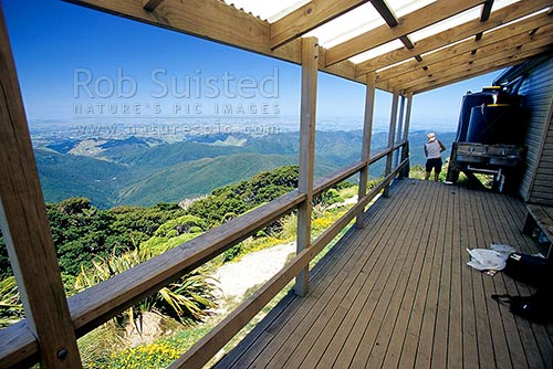 Powell Hut on the Mount (Mt) Holdsworth tramping track, Tararua Forest Park, Masterton District, Wellington Region, New Zealand (NZ) stock photo.