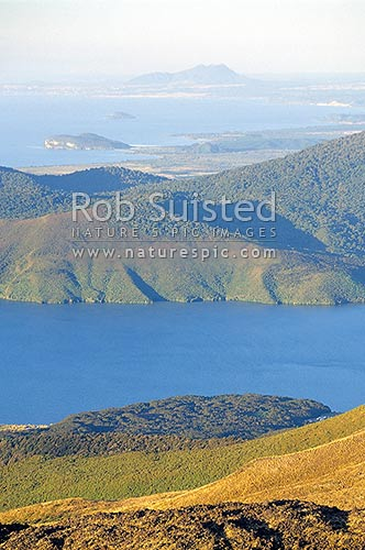 View over Lake Rotoaira to Lake Taupo, from Mount Tongariro. Volcanic landscape, Tongariro National Park, Taupo District, Waikato Region, New Zealand (NZ) stock photo.