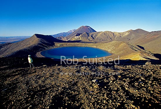 Person above Blue Lake and Red Crater of Mount Tongariro, Mount (Mt) Ngauruhoe (2287m) and Mount (Mt) Ruapehu (obscured) behind. Tongariro crossing tramping track, Tongariro National Park, Taupo District, Waikato Region, New Zealand (NZ) stock photo.