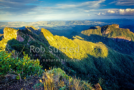 View from the summit of The Pinnacles (759m), above Pinnacles Hut. Coromandel Ranges. Looking south east, Kauaeranga Valley, Thames-Coromandel District, Waikato Region, New Zealand (NZ) stock photo.