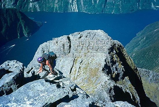 Climbing onto the summit of Mitre Peak (1693m), Milford Sound below. PHOTO BY: Phil Suisted, Milford Sound, Fiordland National Park, Southland District, Southland Region, New Zealand (NZ) stock photo.