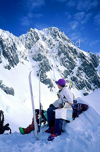 North face of Douglas Peak from above Fox Neve. PHOTO BY: Phil Suisted, Westland National Park, Westland District, West Coast Region, New Zealand (NZ) stock photo.