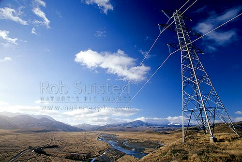 High tension power lines and pylons on national grid, running up the Clarence River Valley St James Station, St James Station, Hurunui District, Canterbury Region, New Zealand (NZ) stock photo.