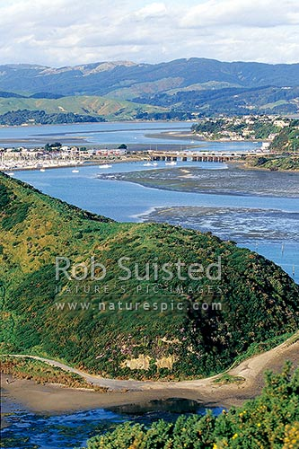 Paremata with Pauatahahui Inlet behind, and Porirua Harbour )foreground), from Titahi Bay, Paremata, Porirua City District, Wellington Region, New Zealand (NZ) stock photo.