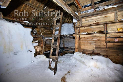 Inside the Historic 1912-14 Mawson's hut, Cape Denison. Main room, Commonwealth Bay, George V Land, Antarctica District, Antarctica Region, Antarctica stock photo.