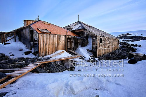 The Historic 1912-14 Mawson's huts and artefact scatter, Cape Denison -'Home of the Blizzard', Commonwealth Bay, George V Land, Antarctica Region, Antarctica stock photo.
