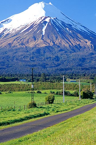 Mount (Mt) Egmont / Mount (Mt) Taranaki above paddocks, farmhouses and country road, Eltham, South Taranaki District, Taranaki Region, New Zealand (NZ) stock photo.