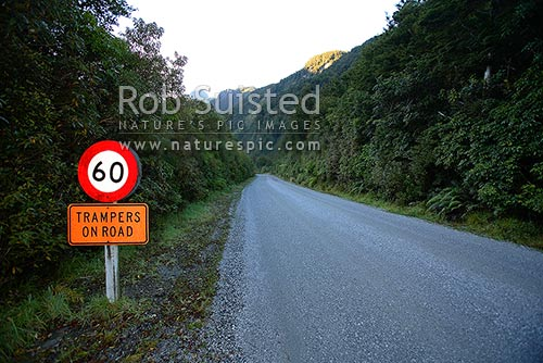 Trampers on Road road sign warning drivers of trampers and hikers, Fiordland, Southland District, Southland Region, New Zealand (NZ) stock photo.