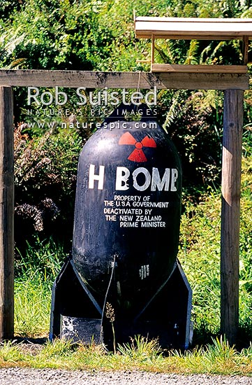 Bush humour! H-bomb at Gunns Camp in the Hollyford Valley, Fiordland National Park, Southland District, Southland Region, New Zealand (NZ) stock photo.