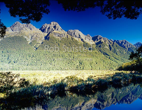 Earl Mountains reflected in Mirror Lakes. Eglinton Valley, Fiordland National Park, Southland District, Southland Region, New Zealand (NZ) stock photo.