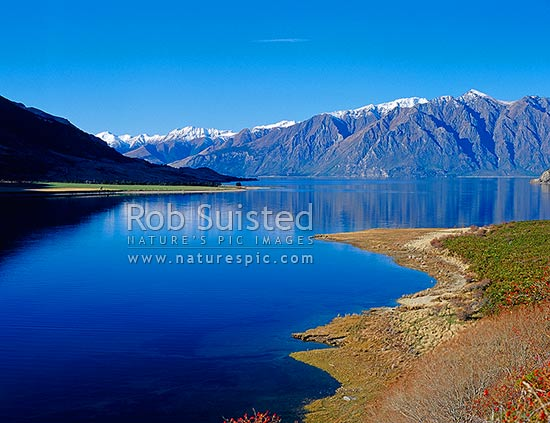 Autumn on the shores of Lake Hawea from The Neck, Wanaka, Queenstown Lakes District, Otago Region, New Zealand (NZ) stock photo.