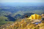 Alpine camping couple