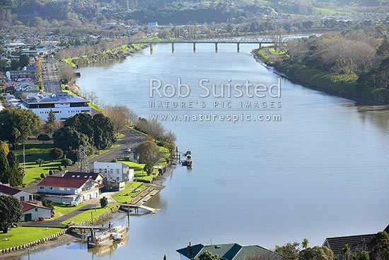 Wanganui City and Whanganui River from Durie Hill. PS Waimarie in foreground, Wanganui City, Wanganui District, Manawatu-Wanganui Region, New Zealand (NZ) stock photo.