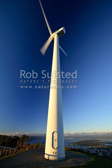 Meridian Energy Wind turbine generator turning on Brooklyn